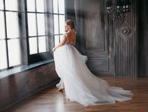 Free Charming Angel In Snow-white Dress Dancing In Castle Tower With Large Windows, A New Story About Cinderella And Snow Royalty Free Stock Photos - 142336328