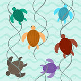 Charming aquatic turtles floating underwater seamless pattern Stock Image