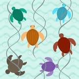 Charming aquatic turtles floating underwater seamless pattern Stock Image