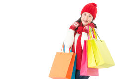 Charming asian woman carry colorful shopping bags Royalty Free Stock Image