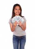Charming asiatic young female with cash money Royalty Free Stock Images
