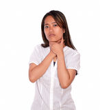 Charming asiatic young female with throat pain Stock Photos