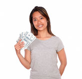 Charming asiatic young woman with cash money Royalty Free Stock Photo