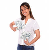 Charming asiatic young woman with cash money Stock Photos