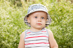 Charming babe in striped t-shirt Royalty Free Stock Photos
