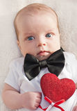 Charming baby boy gentleman Stock Images