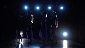 Charming ballerinas dancing modern ballet. Slow motion. Charming ballerinas in light dresses dancing elements of modern ballet in darkness over a spotlights on stock footage