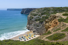 Charming beach at the Atlantic Ocean in Sagres, Portugal Stock Images