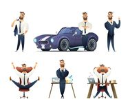 Charming beard businessman collection. Sucessfull man character. Set of Business man character in different situations. Royalty Free Stock Photography