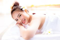 Charming beautiful customer woman get satisfied service of aroma stock photos