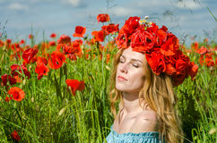 Charming beautiful sexy girl with long hair and gorgeous makeup walks on a poppy field holding a bouquet of red poppies Stock Images