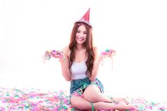Charming beautiful woman holding multi paper color or rainbow pa royalty free stock images