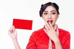 Charming beautiful woman receiving red envelope. Attractive beautiful young lady get surprise and feel happiness. Gorgeous chinese stock images