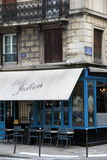 Charming Bistro near The Seine, Chez Julian hip spot in heart of Paris,France,2016 Royalty Free Stock Image