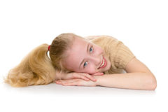 Charming blond girl with a long tail on the head Stock Image