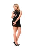 Charming blond woman in black Stock Photos