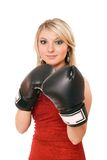 Charming blond woman in boxing gloves Stock Photo