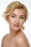 Charming blonde with clean skin. Soft skin. Stock Photos