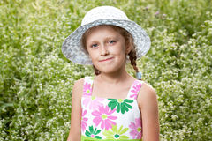 Charming blonde girl in the hat Royalty Free Stock Photos