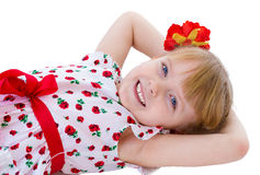 Charming blonde little girl look. Royalty Free Stock Photography