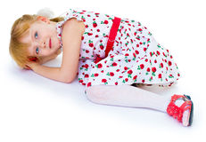 Charming blonde little girl look. Stock Photography