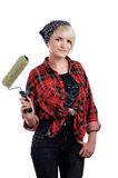 Charming blonde painter Stock Photos