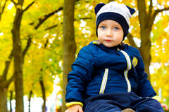 Charming boy in a funny hat Royalty Free Stock Photo