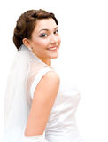 Charming bride. Young charming bride looks into camera, isolated Royalty Free Stock Image