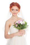 Charming bride with bouquet Royalty Free Stock Image