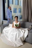 Charming bride and groom Royalty Free Stock Photo