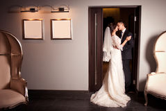 Charming bride and groom on their wedding Stock Photos