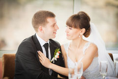 Charming bride and groom on their wedding celebration in a luxur Royalty Free Stock Images