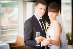 Charming bride and groom on their wedding celebration in a luxur Royalty Free Stock Photos