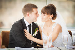Charming bride and groom on their wedding celebration in a luxur Stock Image