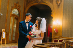Charming bride and handsome elegant groom near old wooden baluster with the background of luxury interior Royalty Free Stock Images