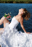 Charming bride relaxing on the sun Stock Images