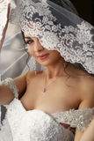 The charming bride is under veil.  Stock Photography