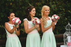 The charming bridesmaids. With rose royalty free stock photo