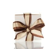Charming bright bow on the gift box Royalty Free Stock Photography