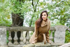 Charming brunette in the park. stock photography