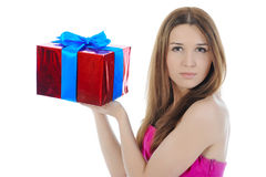 Charming brunette with a gift. Stock Images
