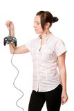Charming brunette girl with a joystick Stock Images