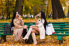 Charming brunette girlfriends drinking coffee sitting on bench in the park Royalty Free Stock Photos