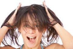 Charming brunette joyfully shouts Stock Photography