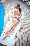 Charming brunette relaxing Stock Photos