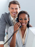 Charming business partners working at a computer Royalty Free Stock Photography