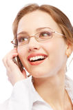 Charming business woman speaks on phone Royalty Free Stock Photography