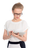 Charming business woman using tablet computer Stock Images
