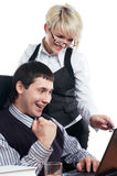 Charming the businessman with the colleague Stock Photography