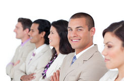 Charming businessman and his team lining up Stock Images